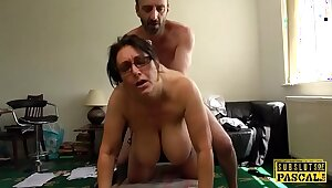 Grown-up UK sub with big tits gets roughfucked