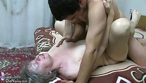 OldNanny Granny sucking dick and making out hard