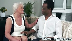 Blacked granny mouthful