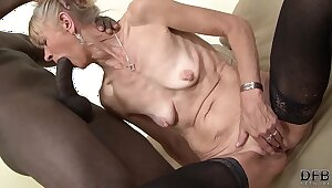 Granny fucked hard around her ass by black guy she gets creampied