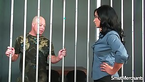 Jailbird gets to bonk hot brunette