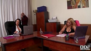 Celebration at office makes boss prosperity shove around babes Patty Michova & Kyra Hot