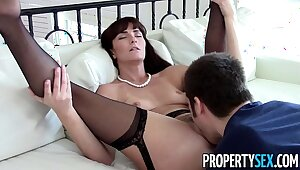 PropertySex - Sexy MILF agent makes dirty homemade dealings video with client
