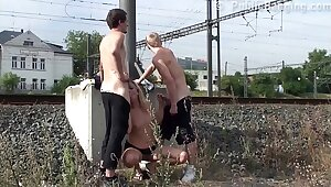 Cum on a MILF face in Develop b publish street threesome sexual relations by a train station