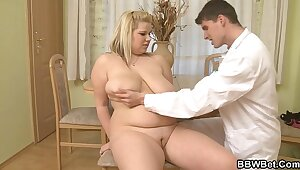 Big tits chunky blonde rides doctor's blarney