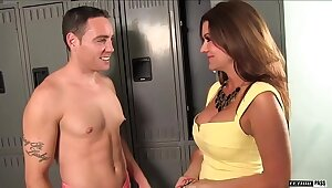 Raquel Devine is a busty shadowy MILF that NEVER curves nearly the stud Romeo price.