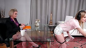 Serving-woman Together with Burnish apply Mature Boss Having Sex In Burnish apply Office - Scarlett Sage and Dee Williams
